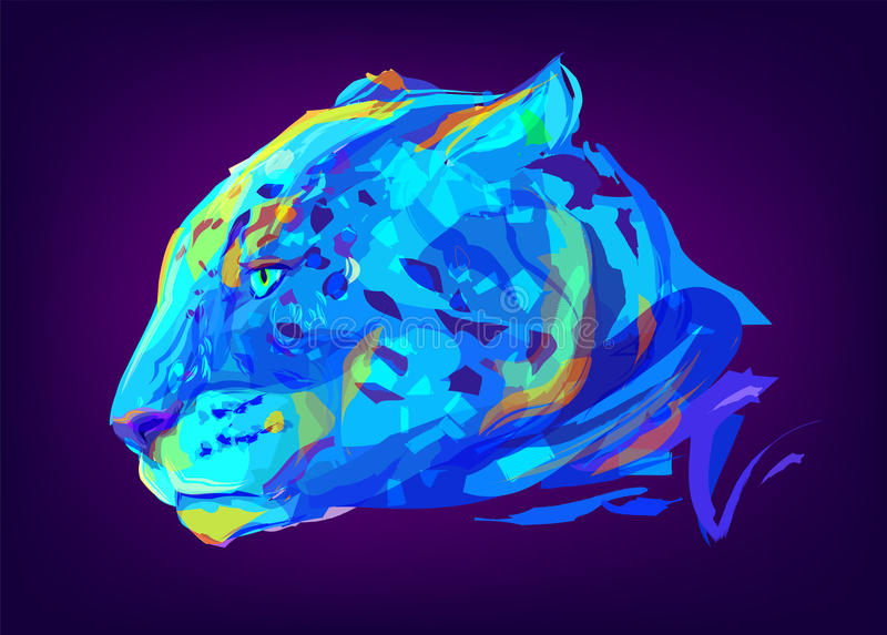 La cabeza coloreada linda del jaguar libre illustration