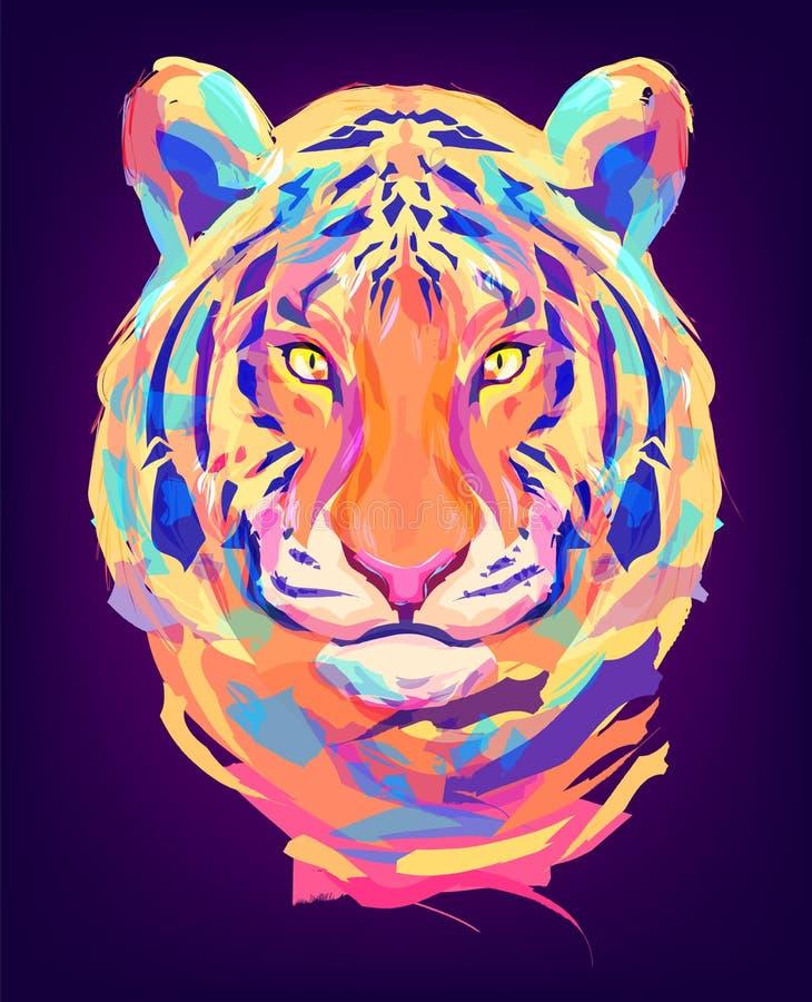 La cabeza coloreada linda del tigre ilustración del vector