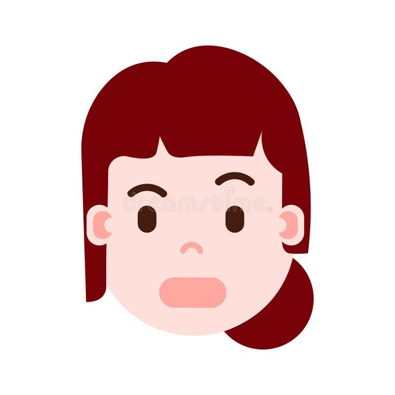 La cabeza con emociones faciales, carácter del avatar, mujer de la muchacha sorprendió la cara con diverso concepto femenino de l ilustración del vector
