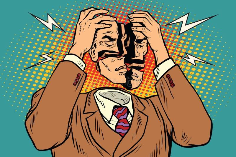 La cabeza daña del dolor, síntomas médicos stock de ilustración
