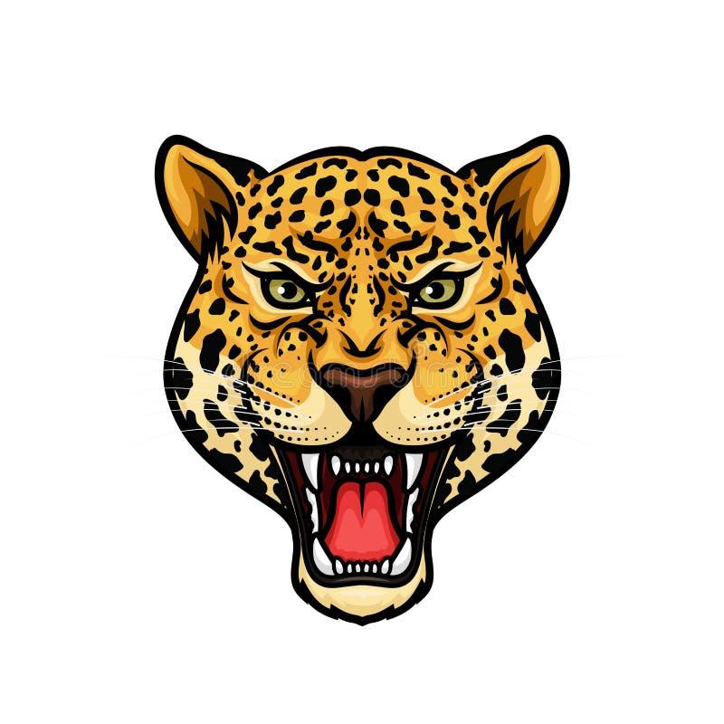 La cabeza de Jaguar aisló diseño de la mascota de la historieta ilustración del vector