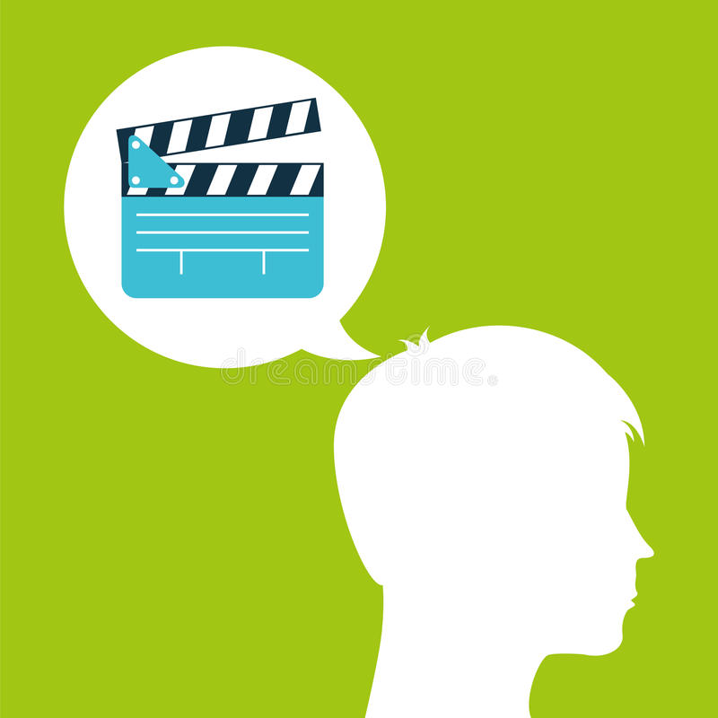 La cabeza de la silueta de la película de la chapaleta piensa película libre illustration