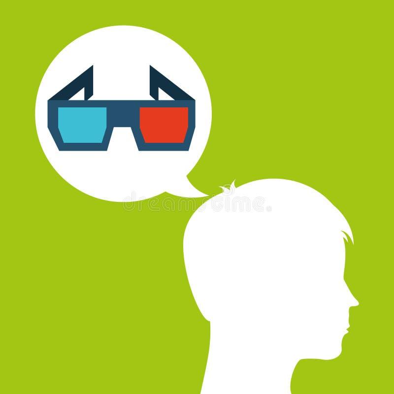 La cabeza de la silueta de los vidrios 3d piensa película ilustración del vector