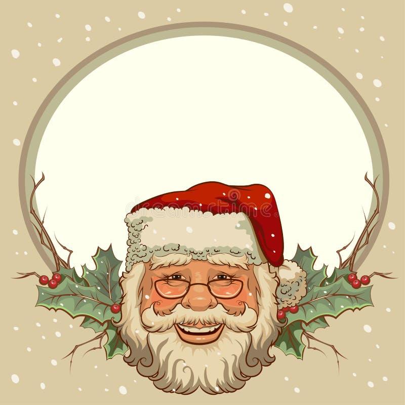 La cabeza de Santa Claus Tarjetas de la plantilla para la Navidad stock de ilustración