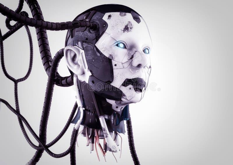 La cabeza de un cyborg con los alambres en un fondo gris ilustración del vector
