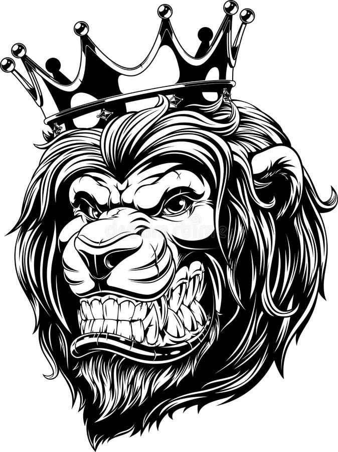 La cabeza de un león en la corona ilustración del vector