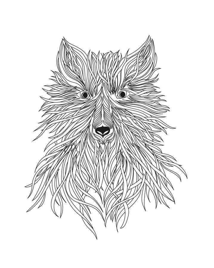 La cabeza de un lobo es una bestia o un perro salvaje Vector Negro y whi ilustración del vector