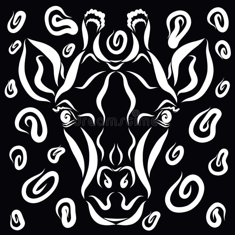 La cabeza de una jirafa linda, y los puntos alrededor de ella, un fondo negro ilustración del vector