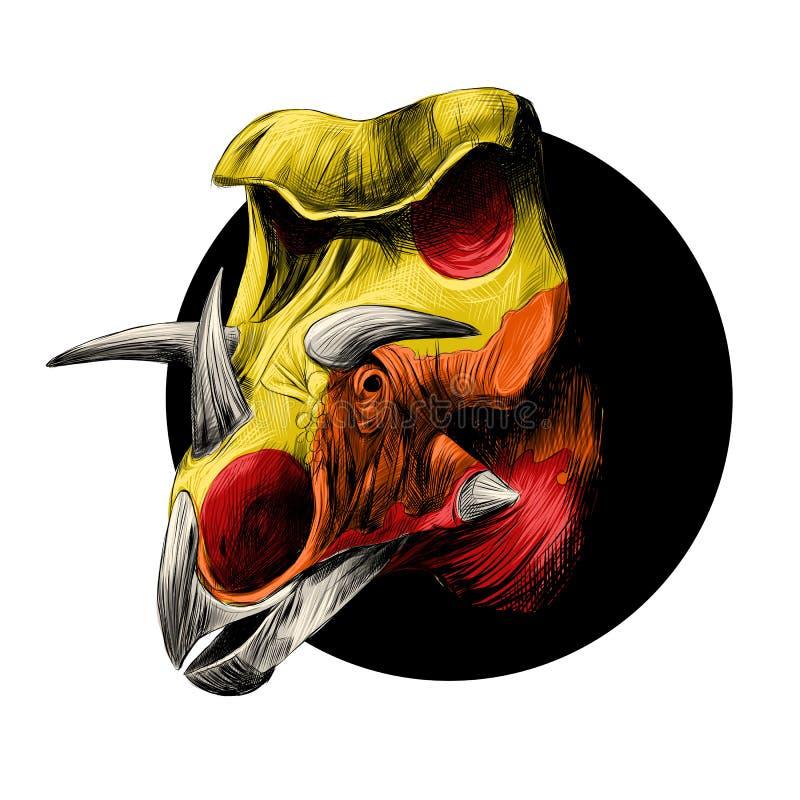 La cabeza de una raza del dinosaurio del Triceratops ilustración del vector