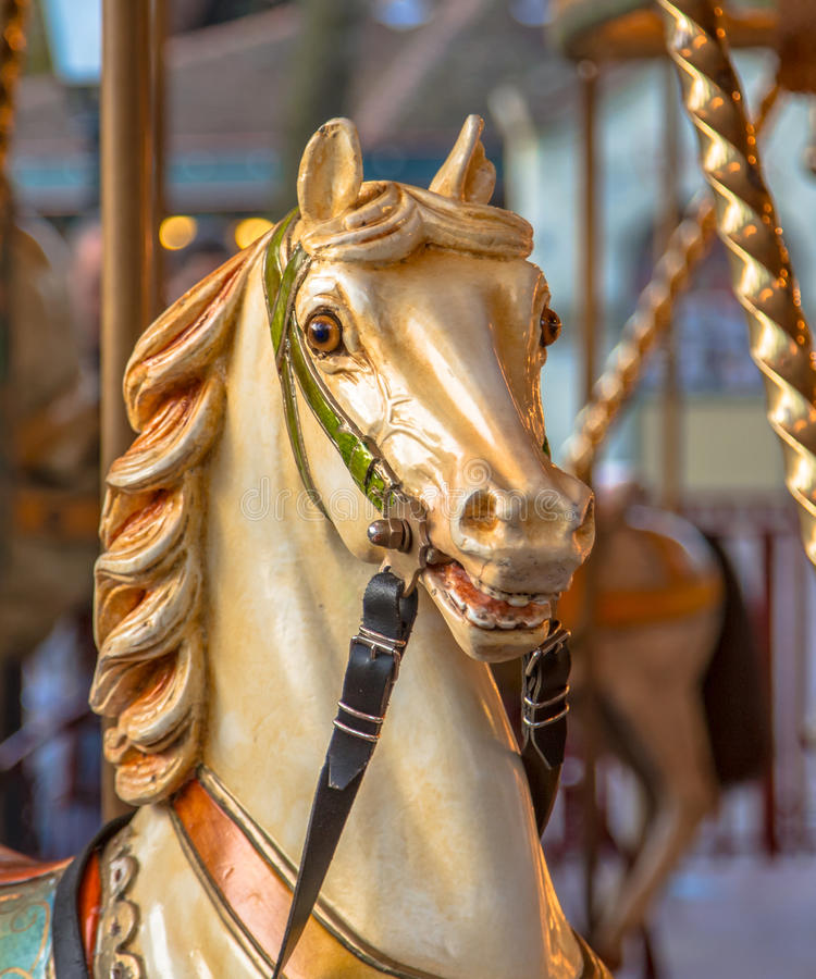 La cabeza del caballo en un feliz va ronda foto de archivo libre de regalías