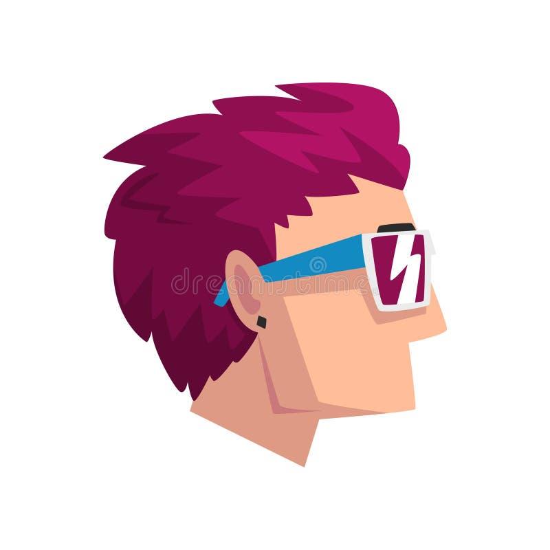 La cabeza del hombre con púrpura corta teñió el pelo, perfil del individuo con el ejemplo del vector del corte de pelo de la moda ilustración del vector