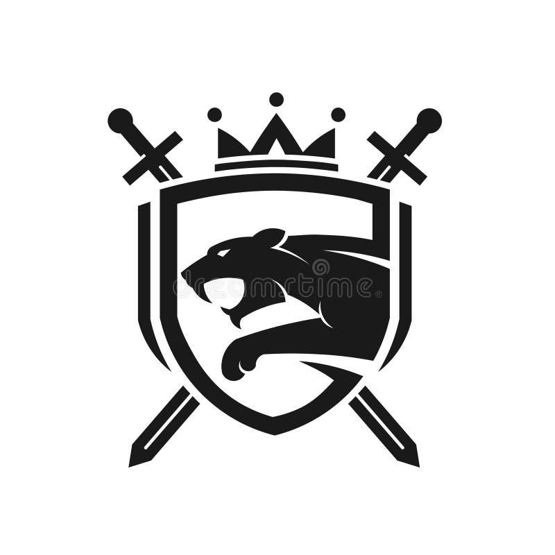 La cabeza del tigre con dos cruzó las espadas, escudo con el logotipo de la corona libre illustration