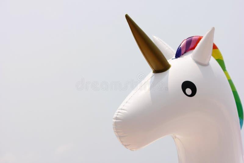 La cabeza del unicornio del primer de las alas de agua Concepto de vacaciones de verano y de la playa foto de archivo libre de regalías