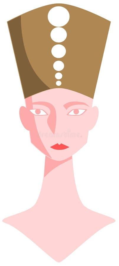 La cabeza estilizada de Nefertiti aisló ilustración del vector