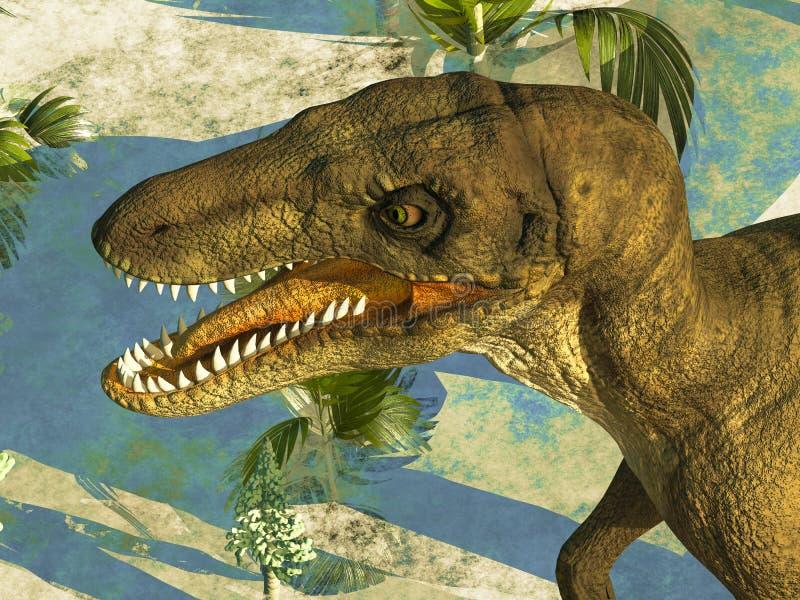 La cabeza feroz del dinosaurio ilustración del vector