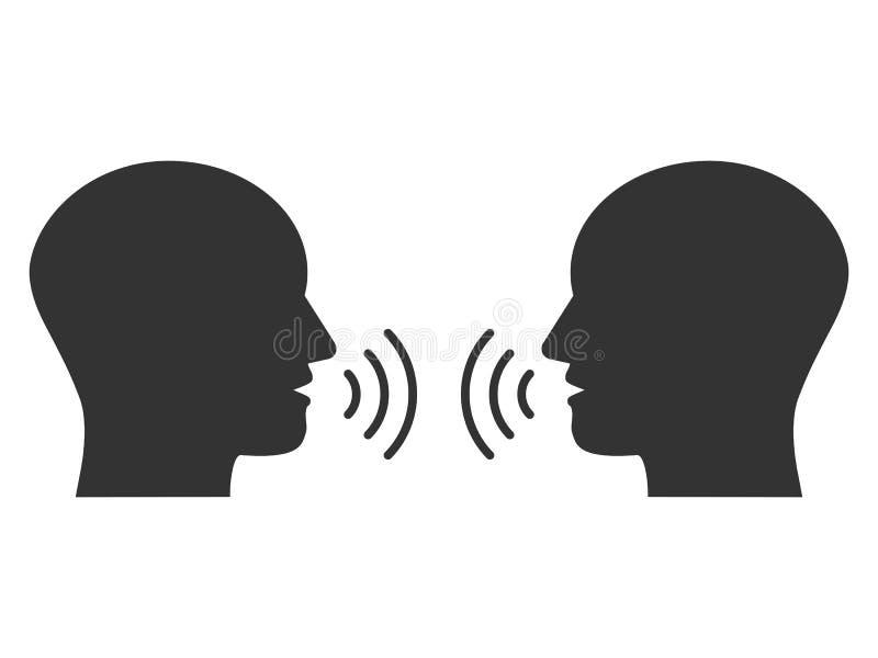 La cabeza, gente, escucha y habla el icono Ejemplo del vector, diseño plano libre illustration