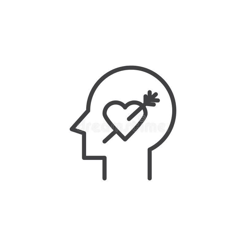 La cabeza humana con el corazón y la flecha resumen el icono libre illustration