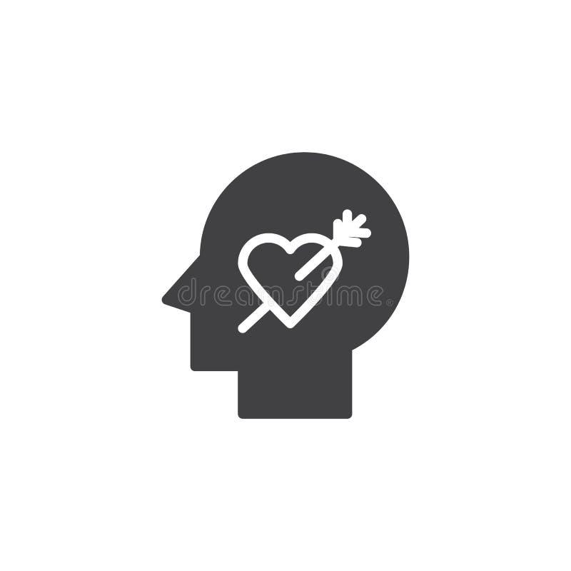La cabeza humana con el corazón y la flecha vector el icono stock de ilustración