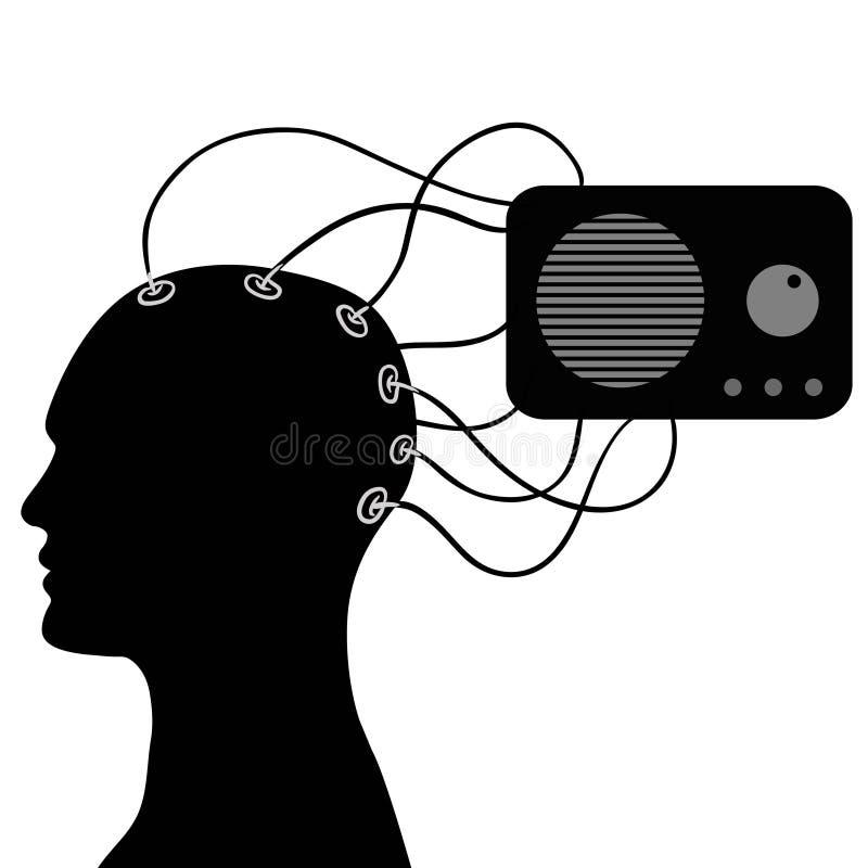 La cabeza humana está conectada con la radio, vector stock de ilustración