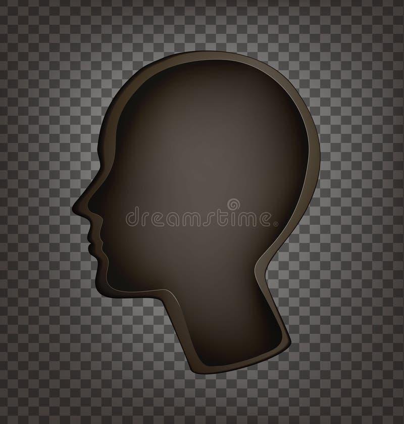 La cabeza vacía, interior vacío de la cabeza del perfil del hombre, problema de memoria, amnesia, memoria perdió, muriendo hacia  ilustración del vector