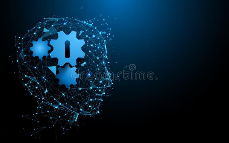 La cabeza y el engranaje abstractos firman las líneas y los triángulos, red de conexión de la forma del punto en fondo azul stock de ilustración