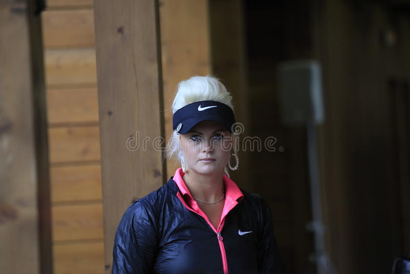 La cabina de Carly en el golf Evian domina 2012 foto de archivo libre de regalías