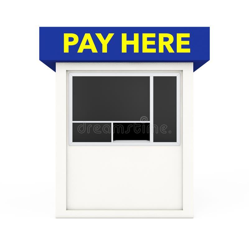 La cabina de la zona de estacionamiento con paga aquí firma representación 3d stock de ilustración