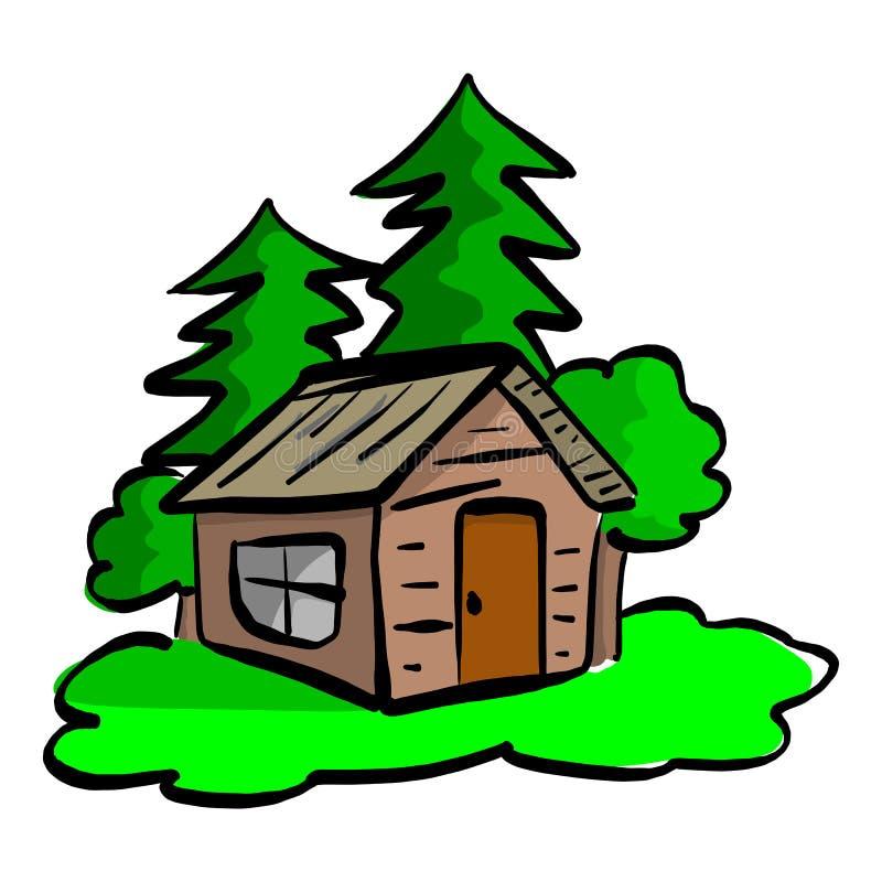 La cabina de madera en el bosque vector la mano del bosquejo del ejemplo dibujada ilustración del vector