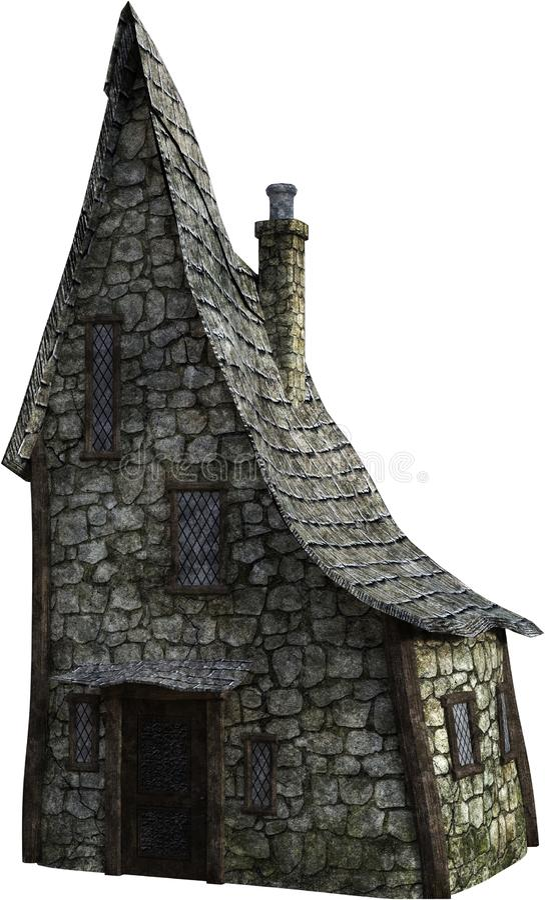 La cabina di pietra di Hobbit dell'eremita ha isolato, Camera, casa fotografia stock