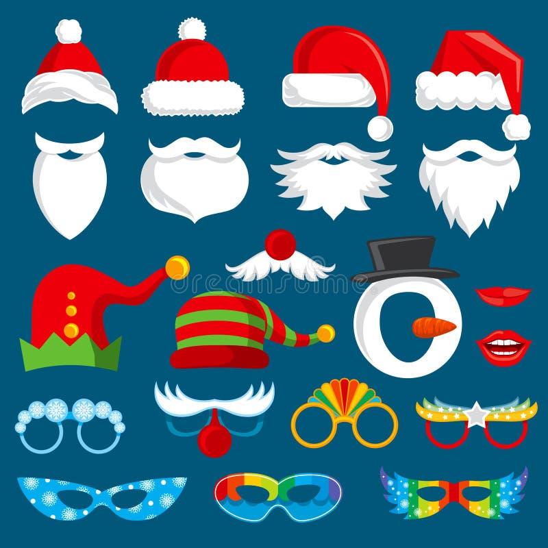 La cabine de photo de vacances de Noël étaye la collection de vecteur illustration de vecteur