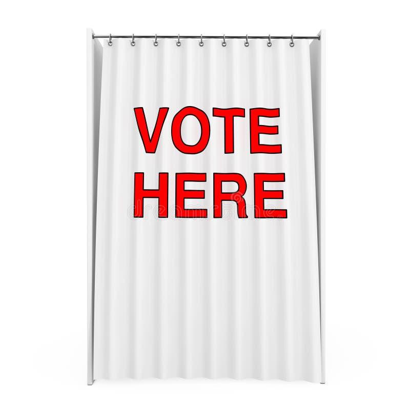 La cabine de vote blanche avec le rideau et le vote ici signent rendu 3d illustration stock