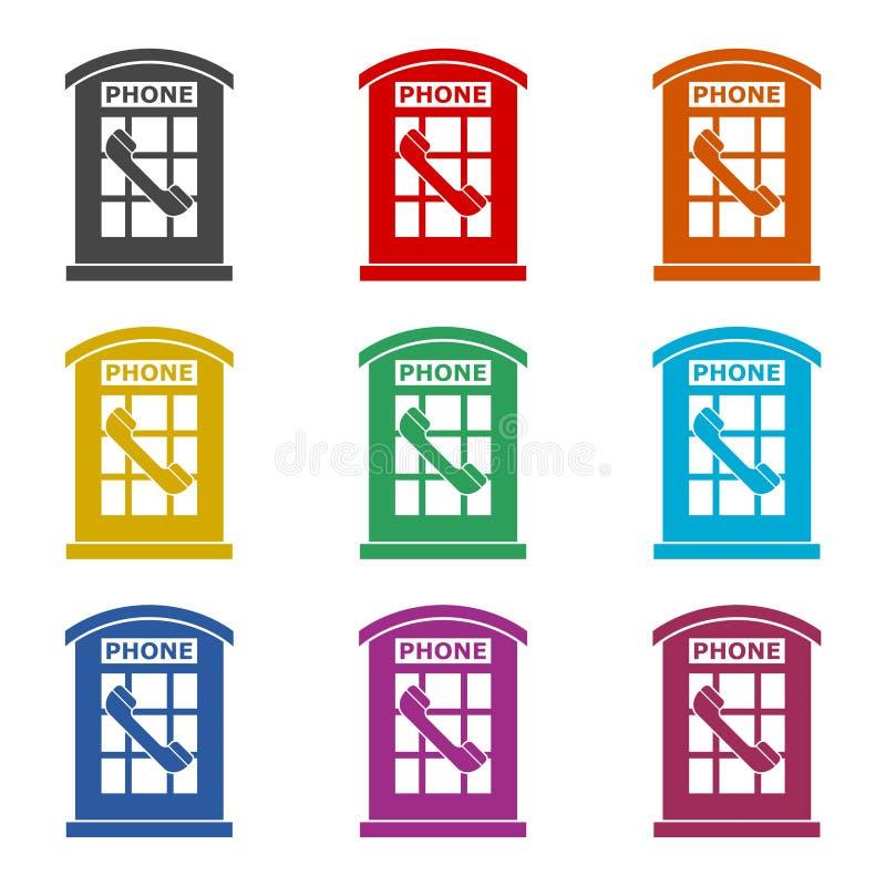 La cabine téléphonique britannique a isolé l'icône ou le logo, ensemble de couleur illustration stock