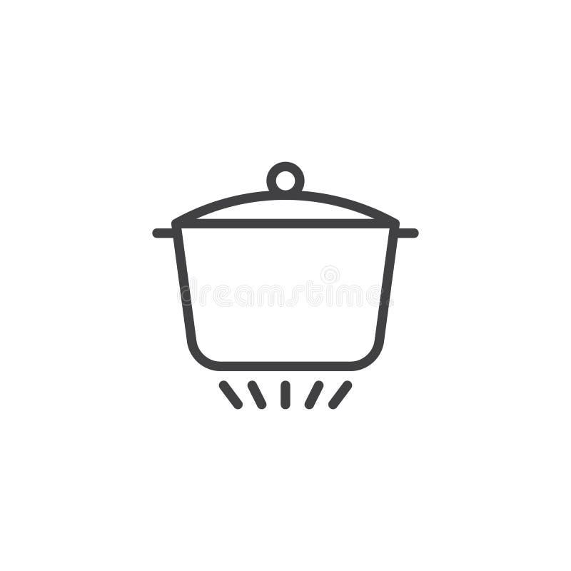 La cacerola está en la línea de fuego icono stock de ilustración
