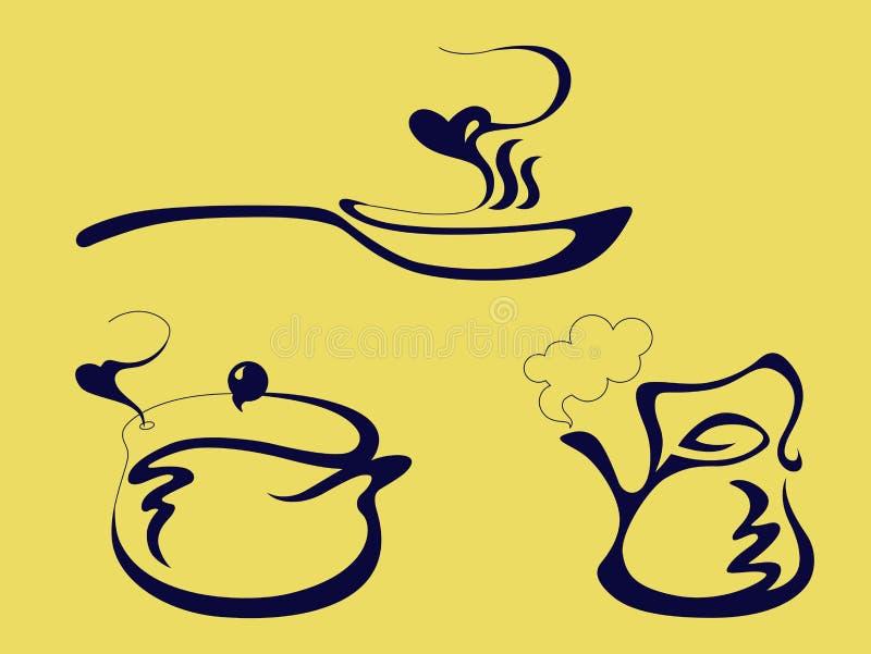 La cacerola, la caldera y el pote stock de ilustración