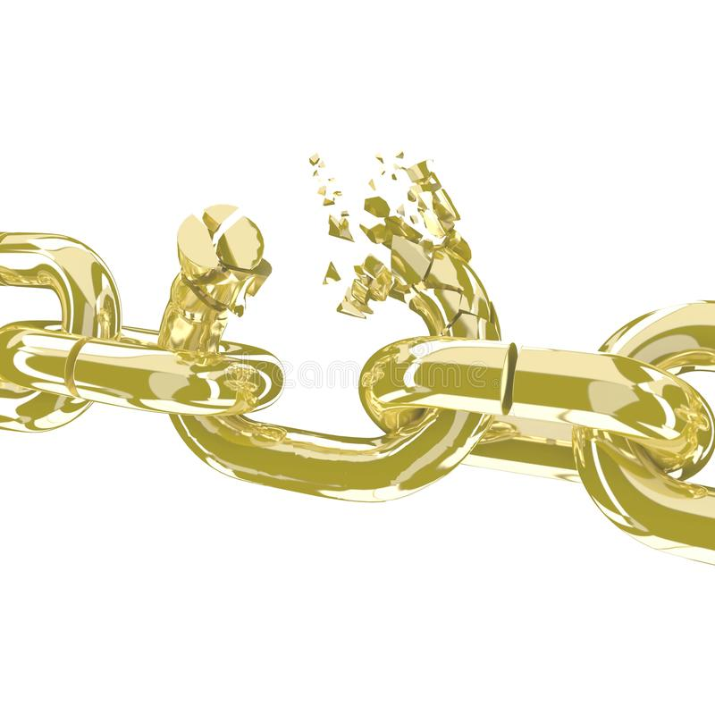 La cadena quebrada del oro en 3D blanco rinde libre illustration