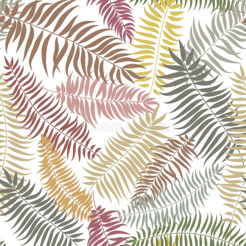 La caduta floreale ha piastrellato il modello Fondo senza cuciture delle foglie di palma tropicali illustrazione vettoriale