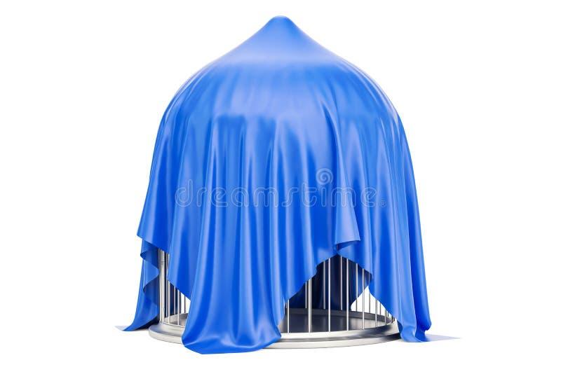 La cage à oiseaux argentée a couvert le tissu rouge, le rendu 3D illustration libre de droits