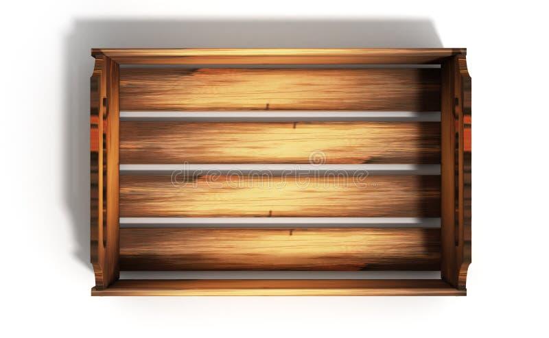 La caisse en bois vide 3d de fruit rendent sur le blanc illustration libre de droits