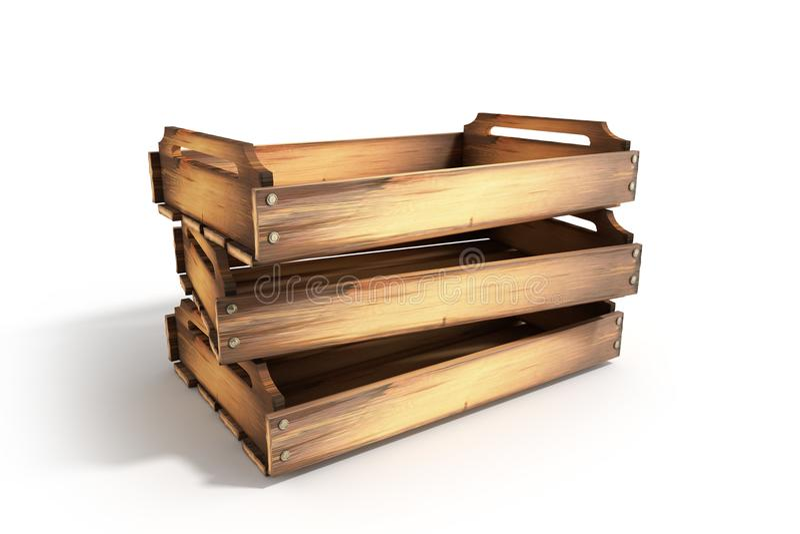 La caisse en bois vide 3d de fruit rendent sur le blanc illustration stock