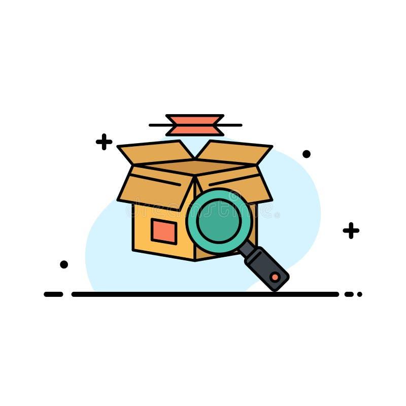 La caja, búsqueda, búsqueda en línea, línea plana del negocio de las compras de E llenó la plantilla de la bandera del vector del ilustración del vector