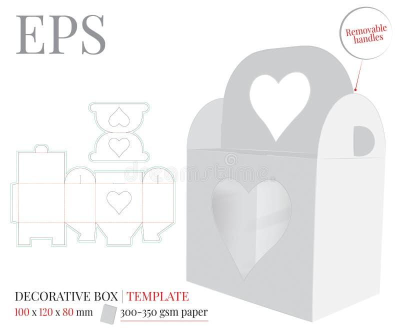 La caja con la manija del corazón, vector, plantilla con cortado con tintas/el laser cortó líneas Blanco, claro, espacio en blanc libre illustration