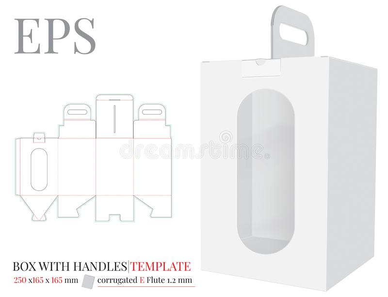 La caja con la manija con la plantilla de la ventana, vector con cortado con tintas/el laser cortó capas Blanco, claro, espacio e ilustración del vector