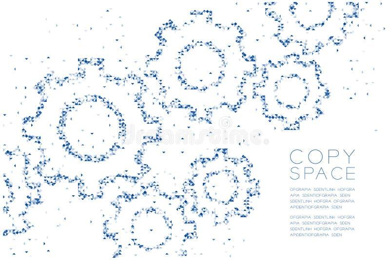 La caja cuadrada y el triángulo del polígono geométrico abstracto modelan la forma del engranaje de la ingeniería, illus azul del libre illustration