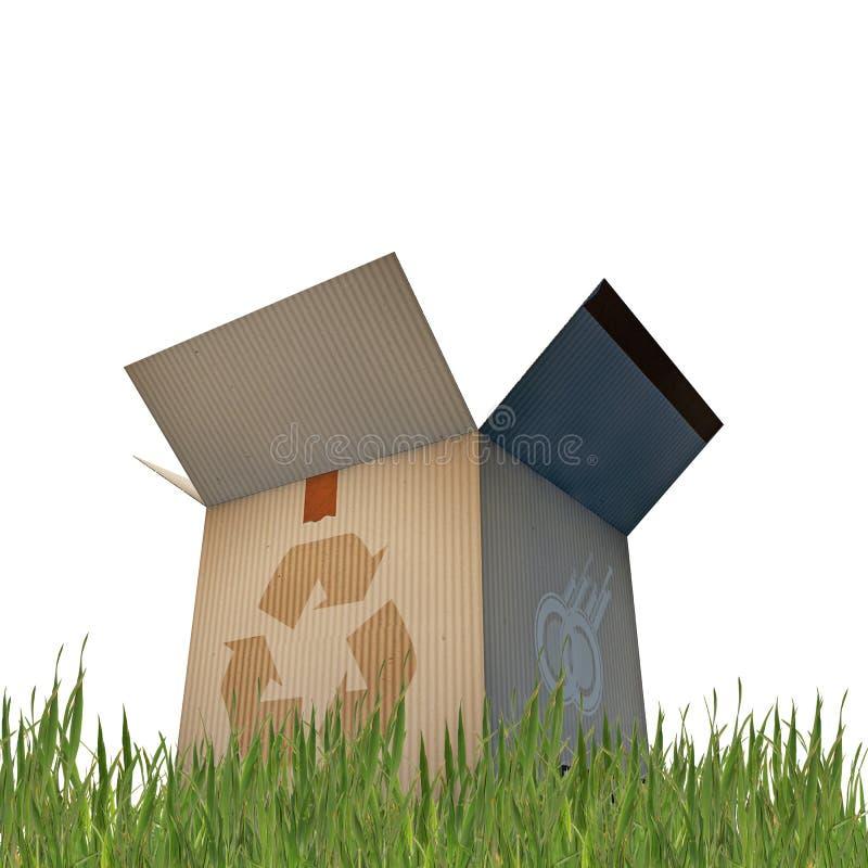 La caja de cartón con recicla la muestra stock de ilustración
