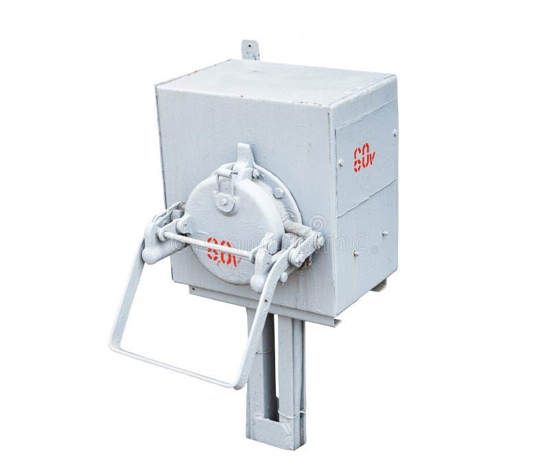 La caja de control eléctrica al aire libre aislada en el fondo blanco foto de archivo libre de regalías
