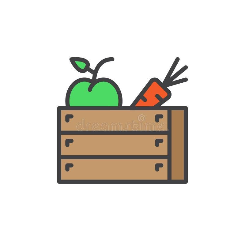La caja de madera de las frutas y verduras llenó el icono del esquema, línea muestra del vector, pictograma colorido linear ilustración del vector