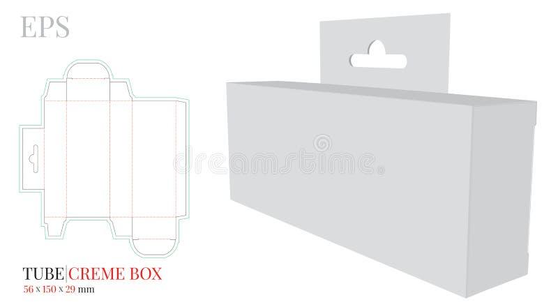 La caja de la nata del tubo con la plantilla de la suspensión, vector con cortado con tintas/el laser cortó capas Blanco, claro,  stock de ilustración