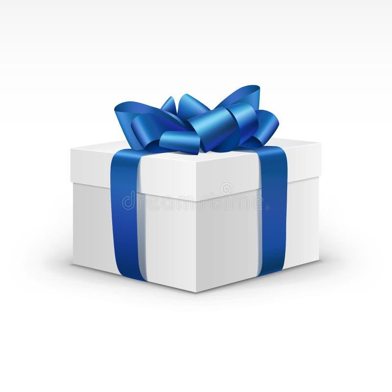La caja de regalo blanca con Blue Ribbon aisló ilustración del vector