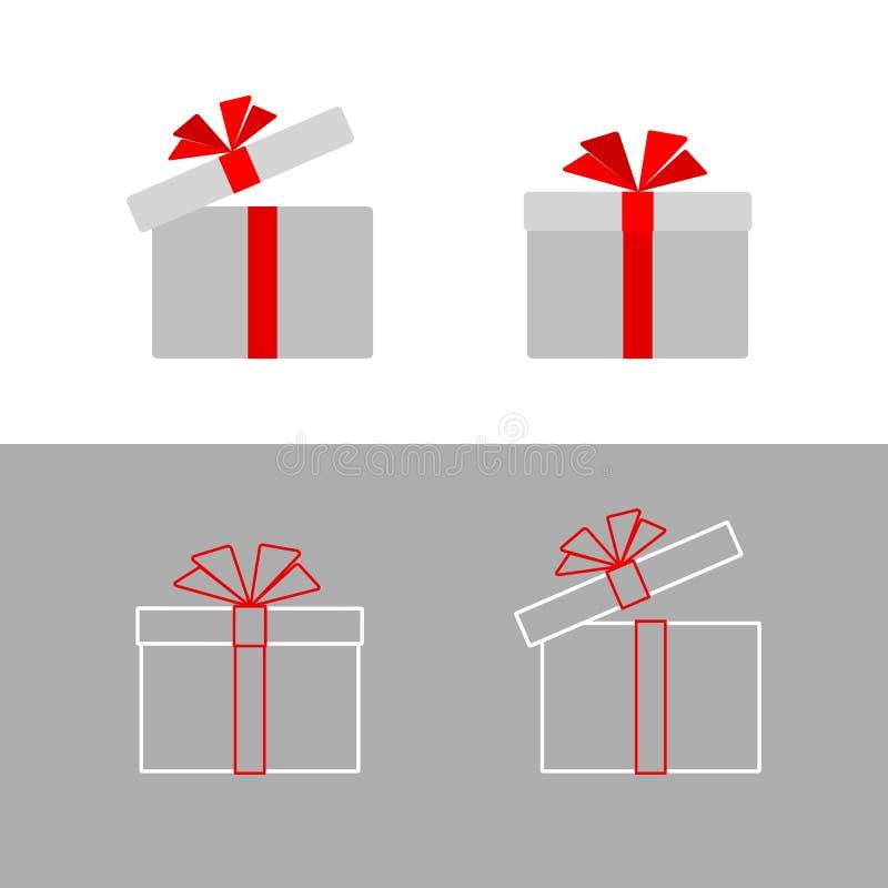 La caja de regalo con un arco rojo de la cinta aisló el icono plano simple de la caja de regalo de la línea de tarjeta de felicit libre illustration