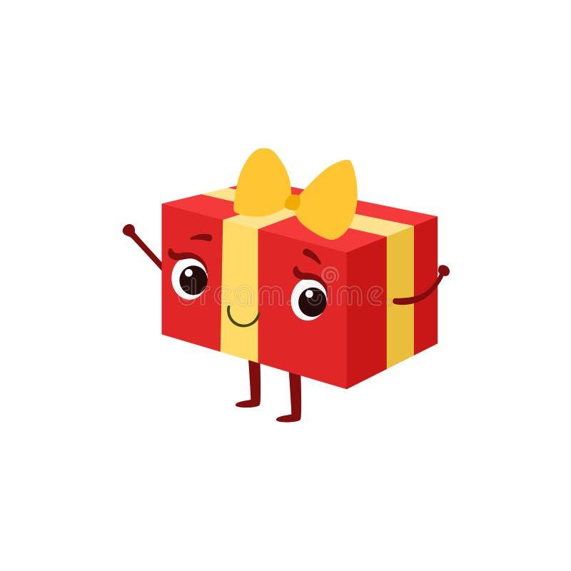 La caja de regalo cuadrada con el arco amarillo embroma el carácter femenino sonriente feliz de la historieta animada del objeto  ilustración del vector